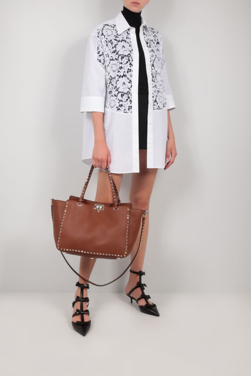 VALENTINO: oversize floral lace and poplin shirt Color White_2