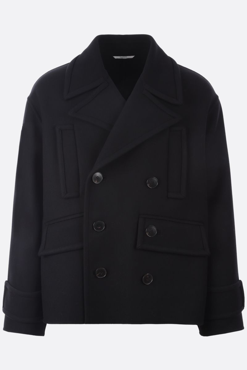 VALENTINO: double-breasted wool blend coat Color Black_1