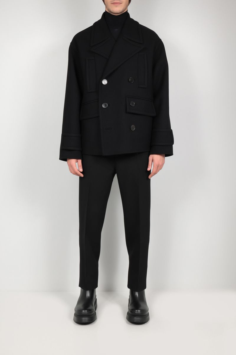 VALENTINO: double-breasted wool blend coat Color Black_2