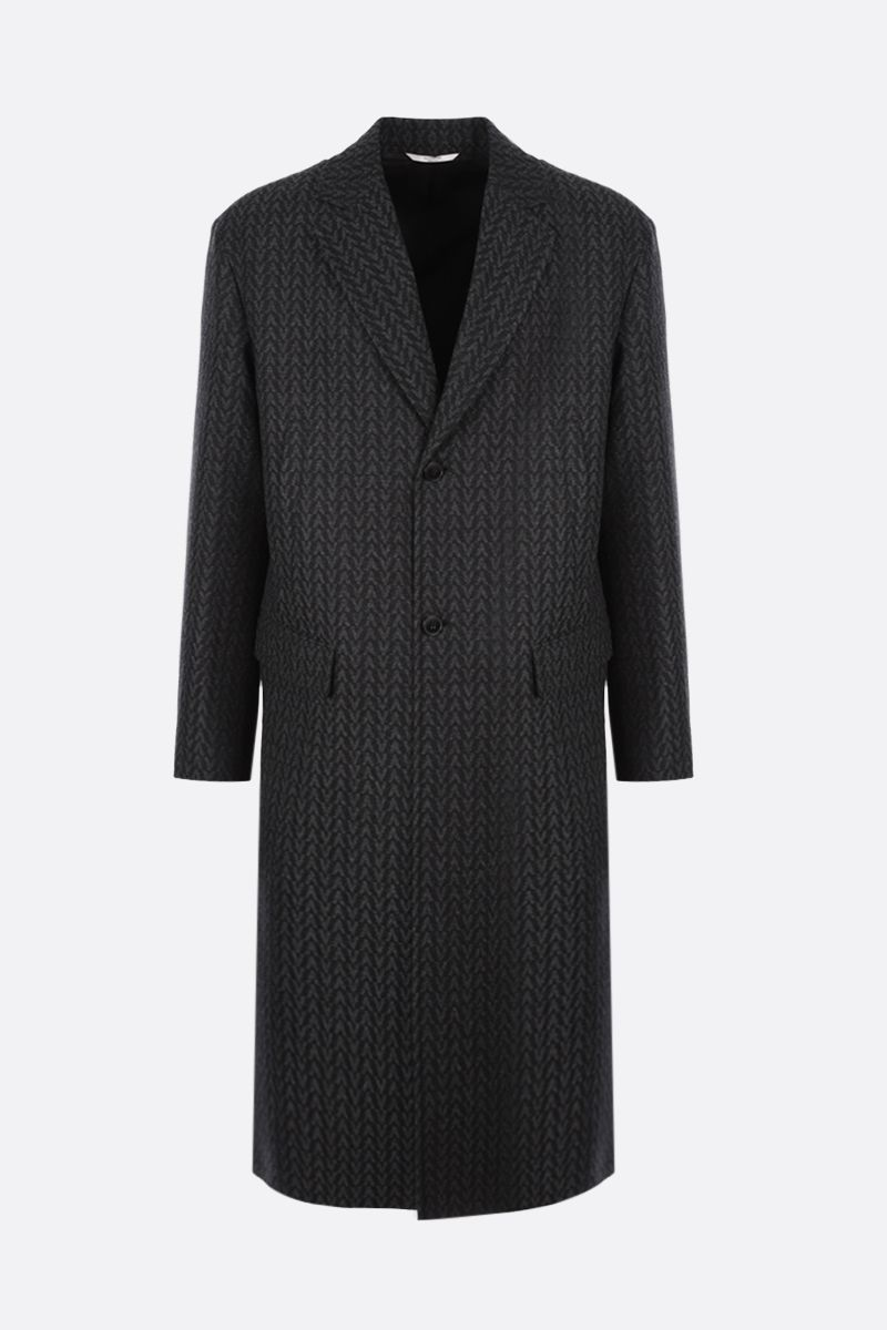 VALENTINO: Optical Valentino single-breasted wool coat Color Grey_1