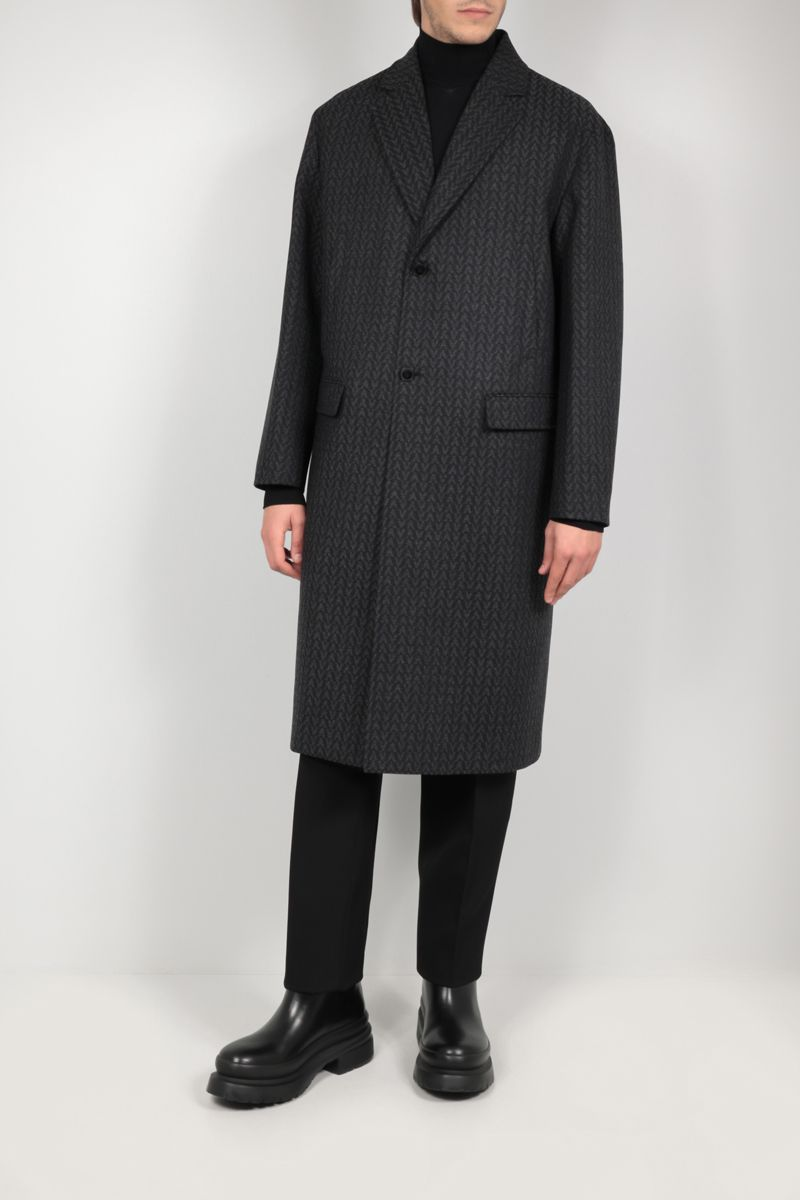 VALENTINO: Optical Valentino single-breasted wool coat Color Grey_2