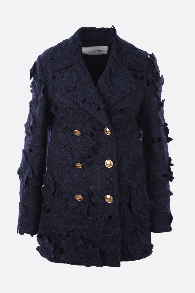 VALENTINO: double-breasted jacket in embroidered Carving Felt Color Blue_1