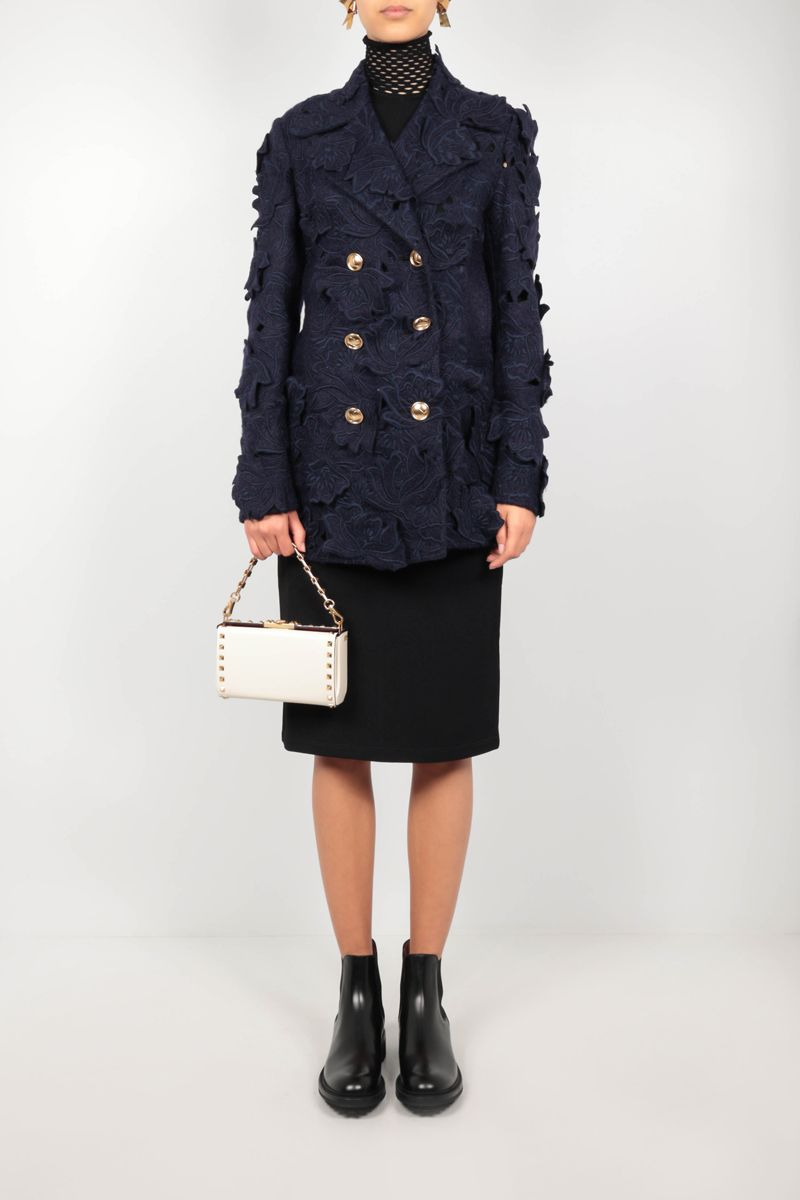 VALENTINO: double-breasted jacket in embroidered Carving Felt Color Blue_2