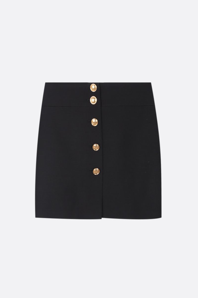 VALENTINO: buttoned Crepe Couture miniskirt Color Black_1