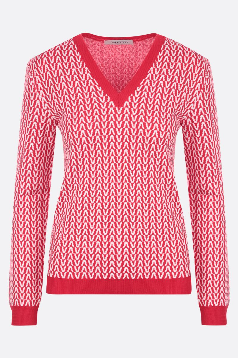 VALENTINO: Optical Valentino cotton wool blend pullover Color Red_1