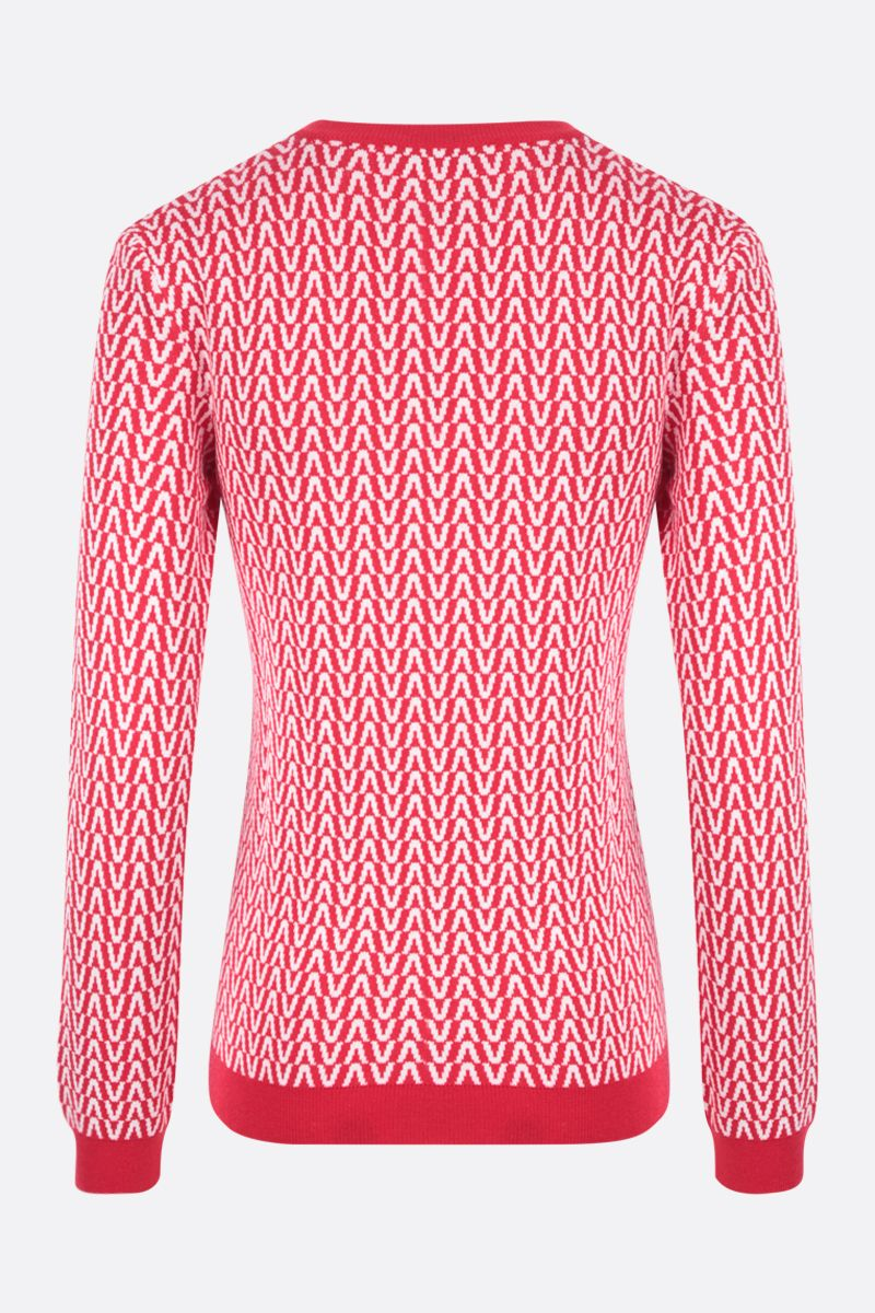 VALENTINO: Optical Valentino cotton wool blend pullover Color Red_2