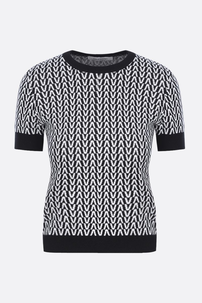 VALENTINO: Optical Valentino cotton wool blend cropped pullover Color Black_1