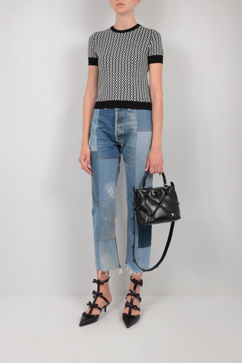 VALENTINO: Optical Valentino cotton wool blend cropped pullover Color Black_2