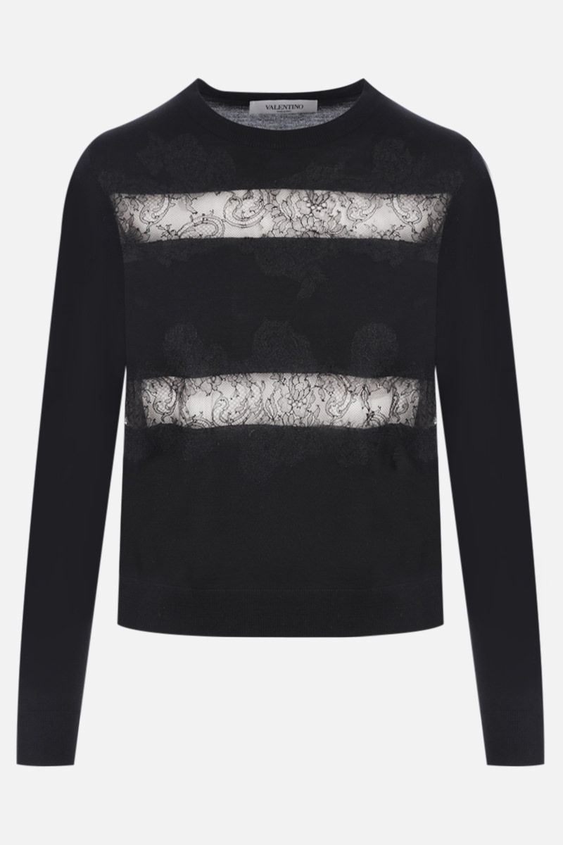 VALENTINO: lace-detailed wool pullover Color Black_1