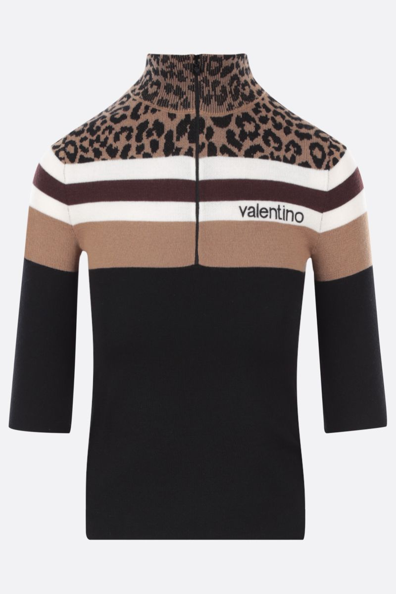 VALENTINO: half-zip cropped wool pullover Color Black_1