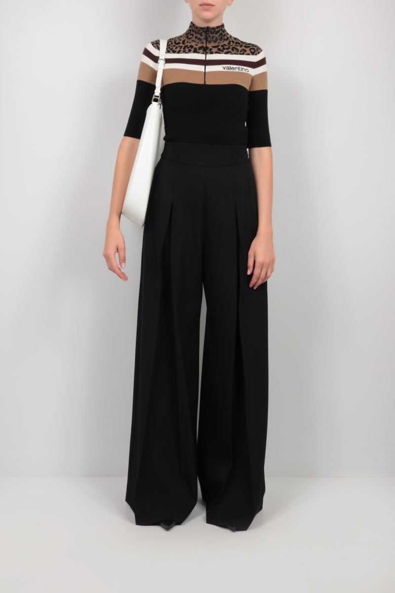 VALENTINO: half-zip cropped wool pullover Color Black_2