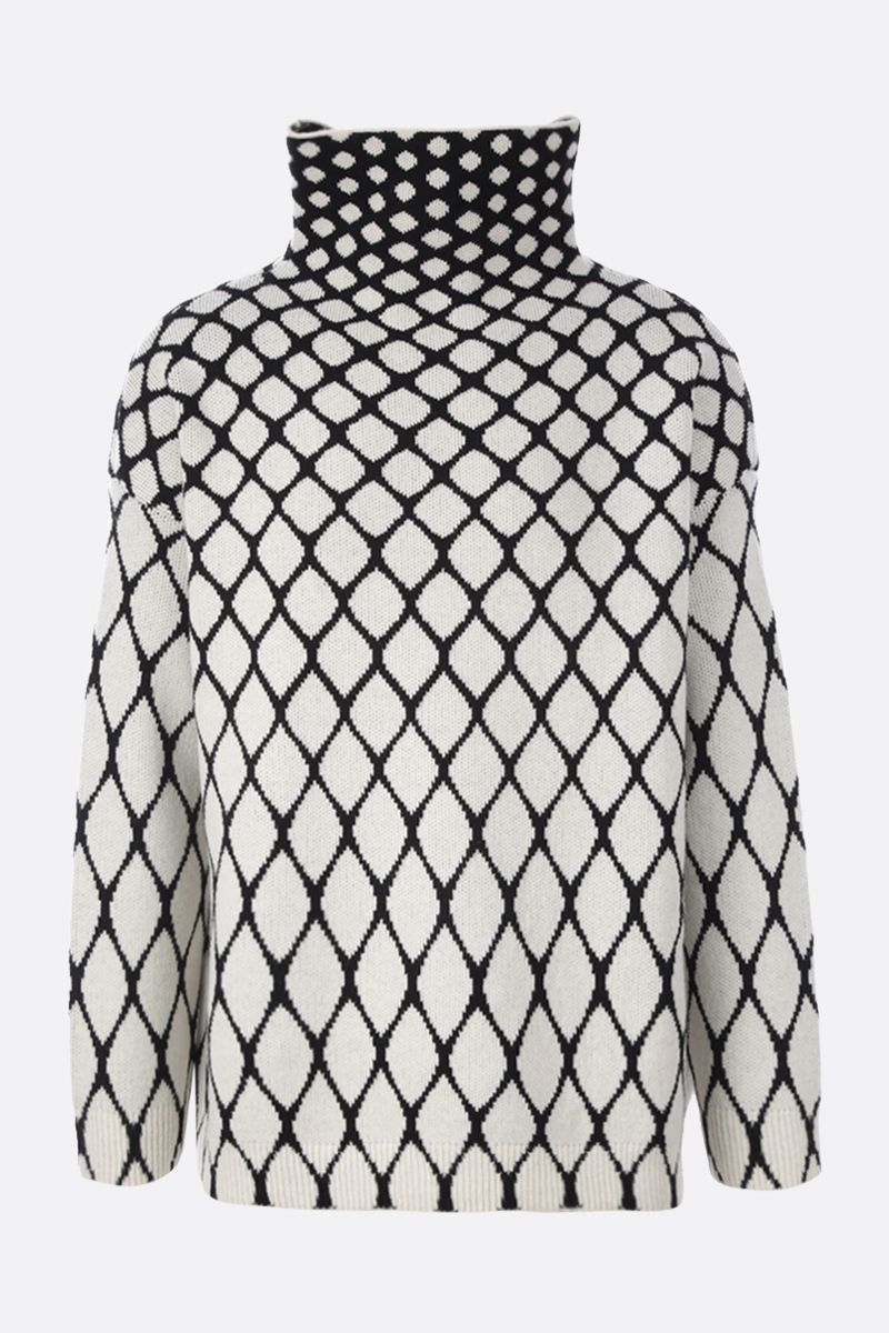 VALENTINO: net motif oversize wool pullover Color Neutral_1