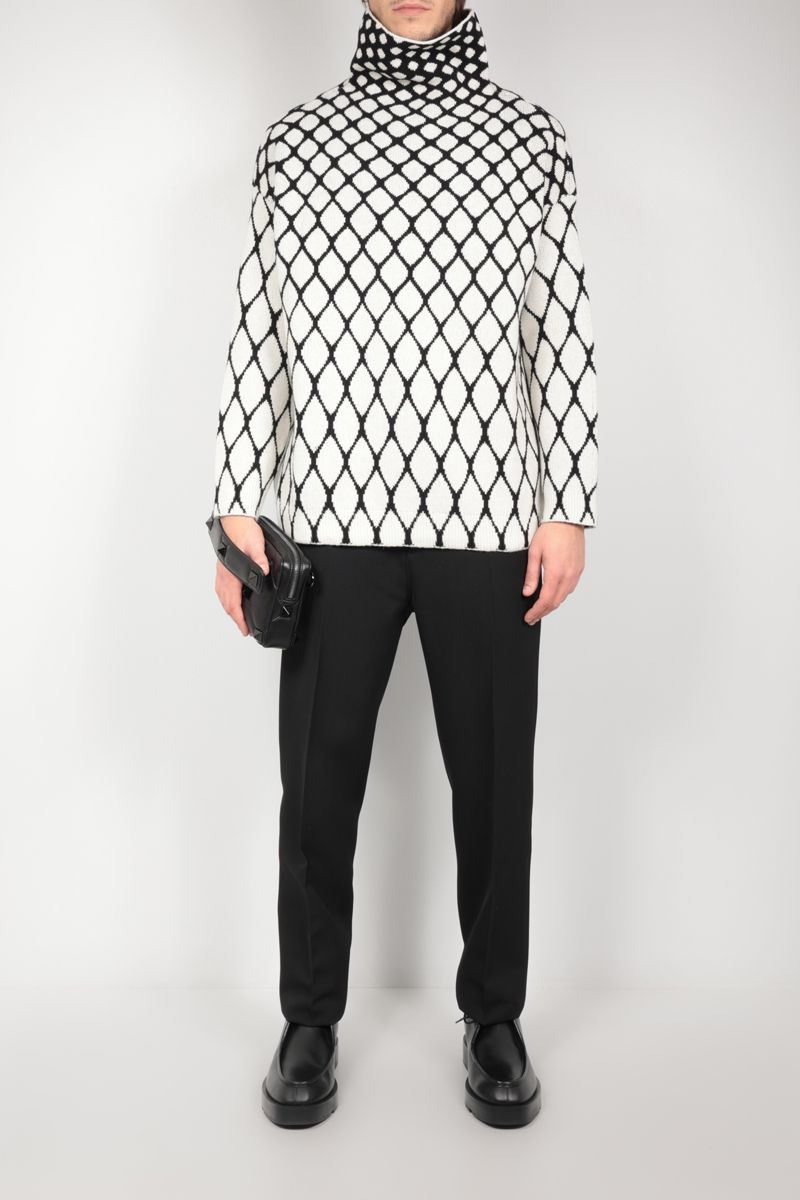 VALENTINO: net motif oversize wool pullover Color Neutral_2