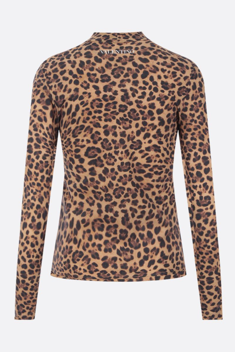 VALENTINO: leopard print jersey top Color Animalier_2