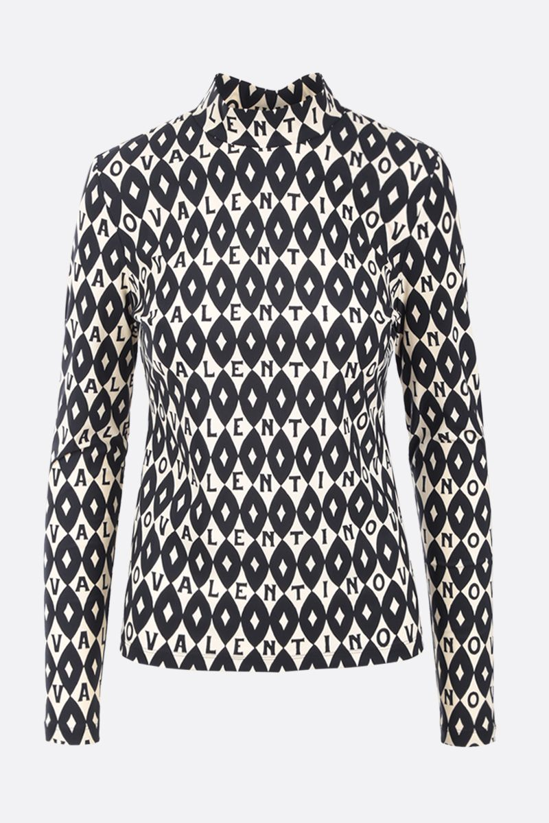 VALENTINO: Valentino Foulard Archive print jersey top Color Neutral_1