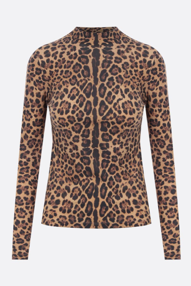 VALENTINO: leopard print jersey top Color Animalier_1