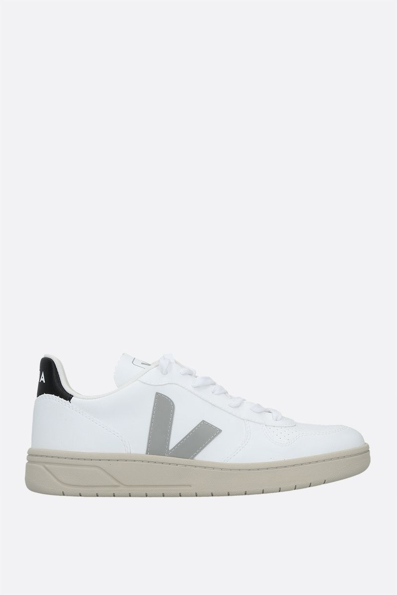 VEJA: V-10 smooth and perforated sneakers Color White_1