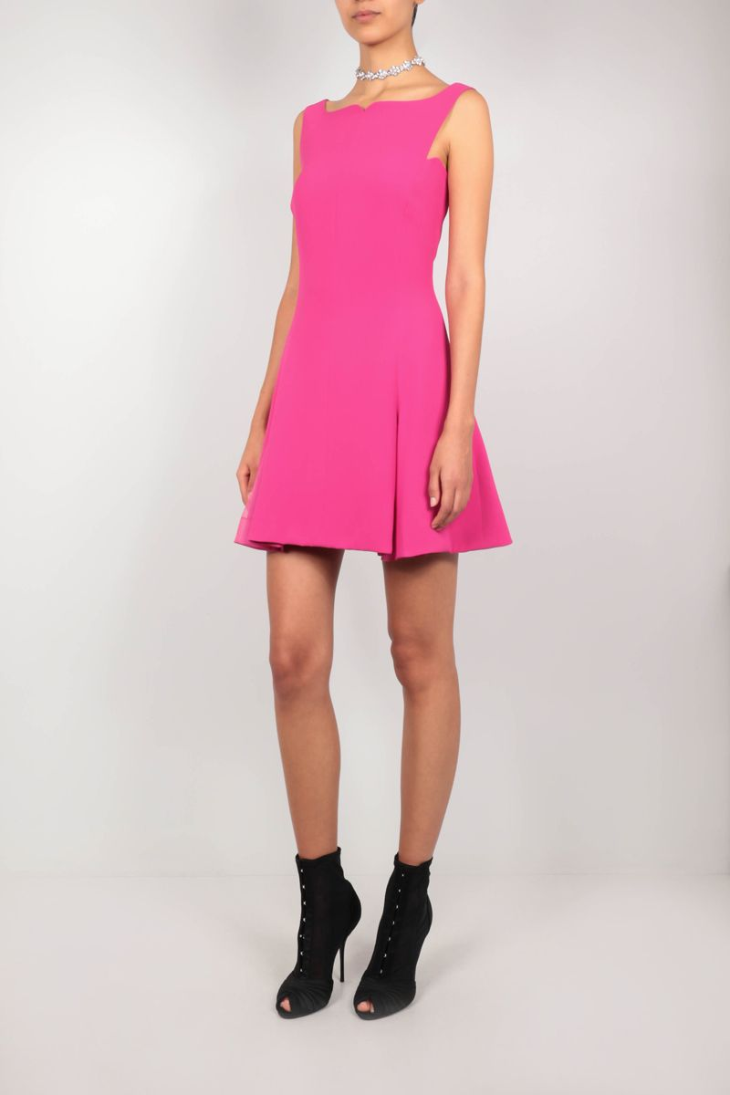 VERSACE: organza-detailed cady minidress Color Pink_2