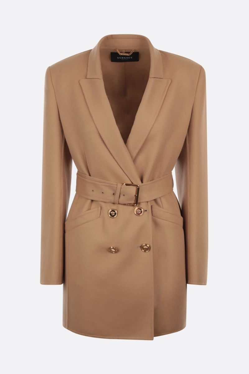 VERSACE: double-breasted wool coat Color Brown_1