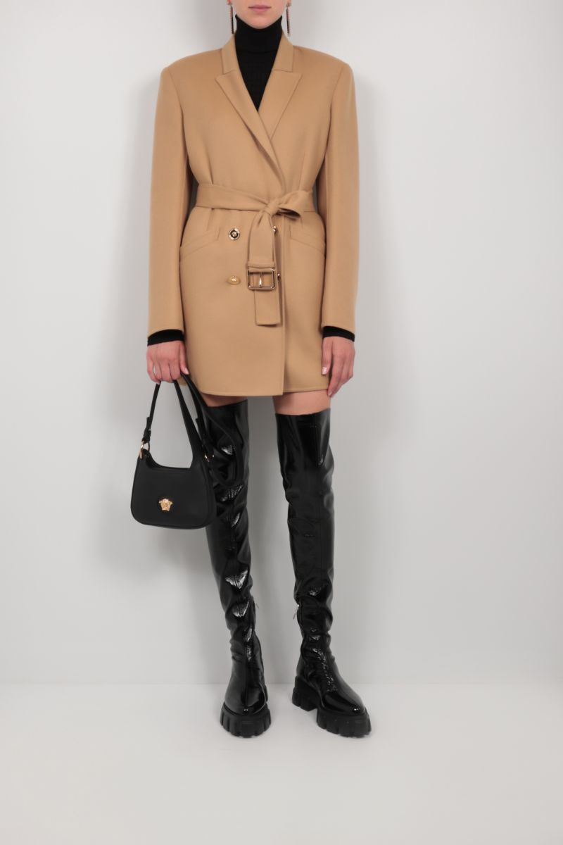 VERSACE: double-breasted wool coat Color Brown_2