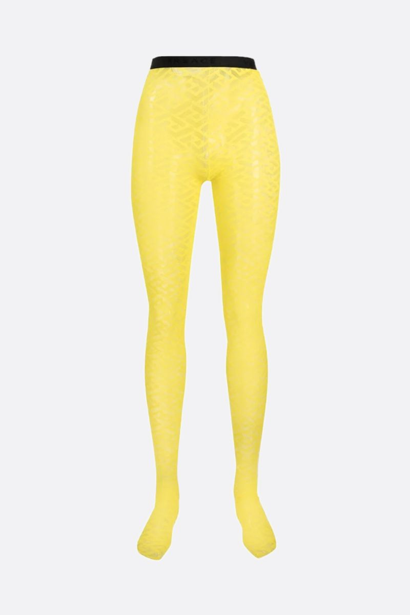 VERSACE: Greca Signature print tulle tights Color Yellow_1