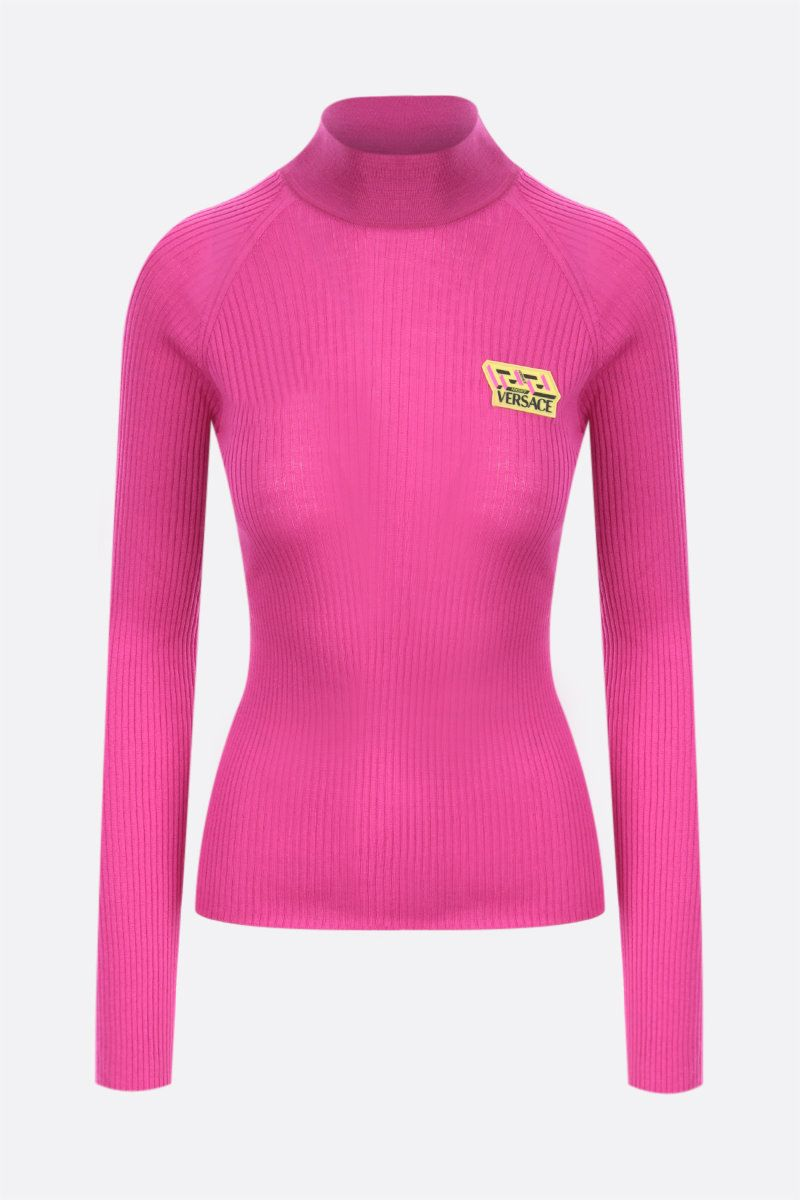 VERSACE: logo patch ribbed wool pullover Color Pink_1