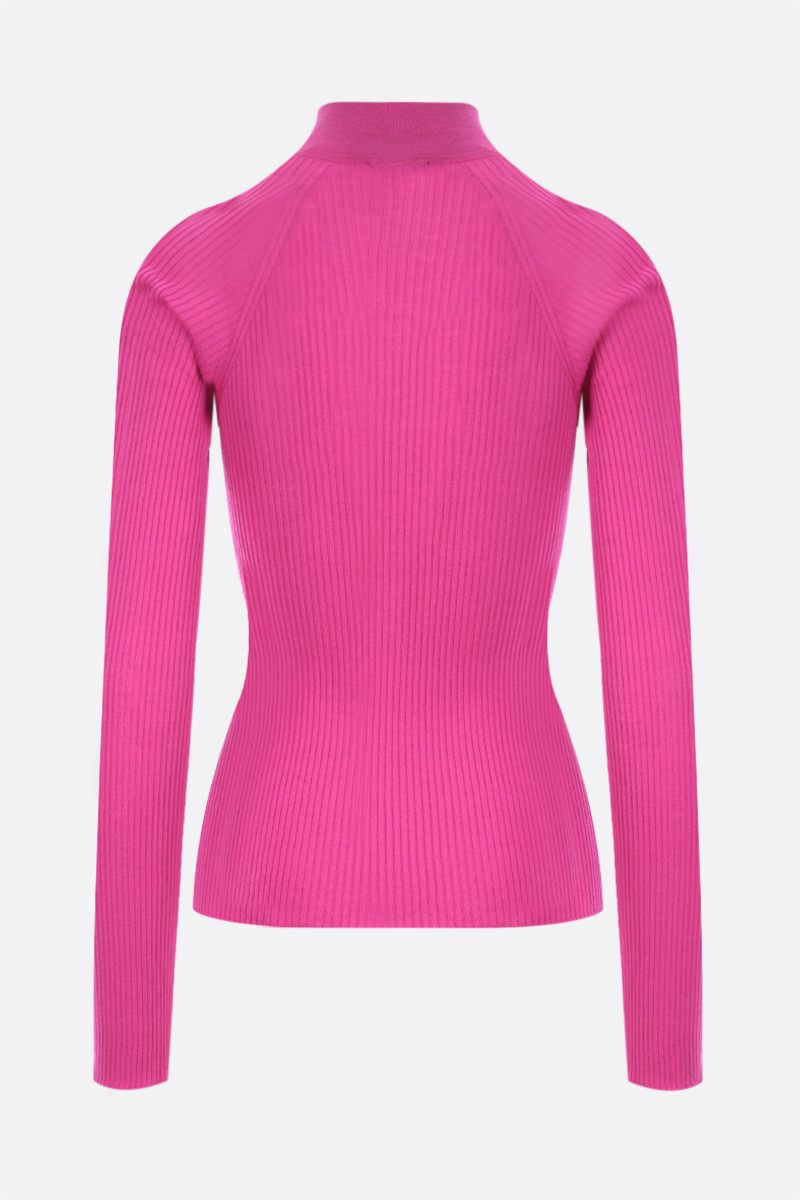 VERSACE: logo patch ribbed wool pullover Color Pink_2