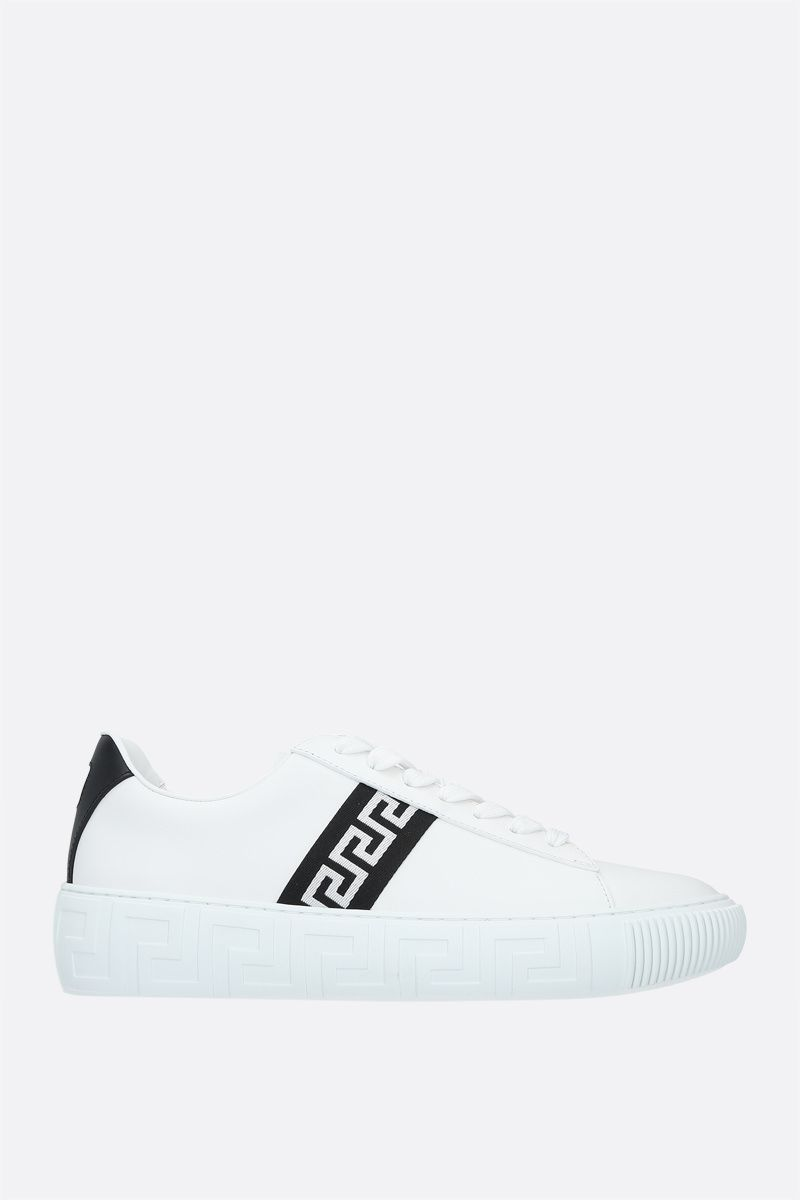 VERSACE: Greca smooth leather sneakers Color White_1