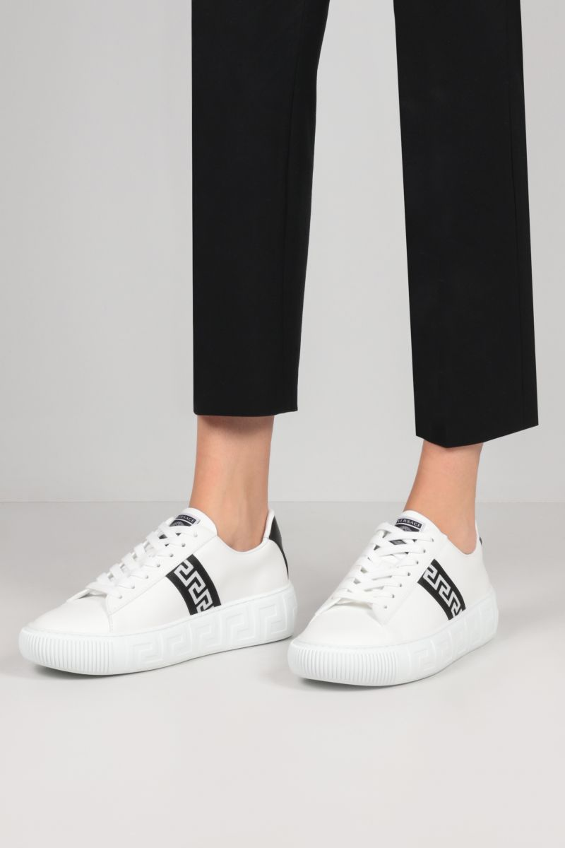 VERSACE: Greca smooth leather sneakers Color White_2