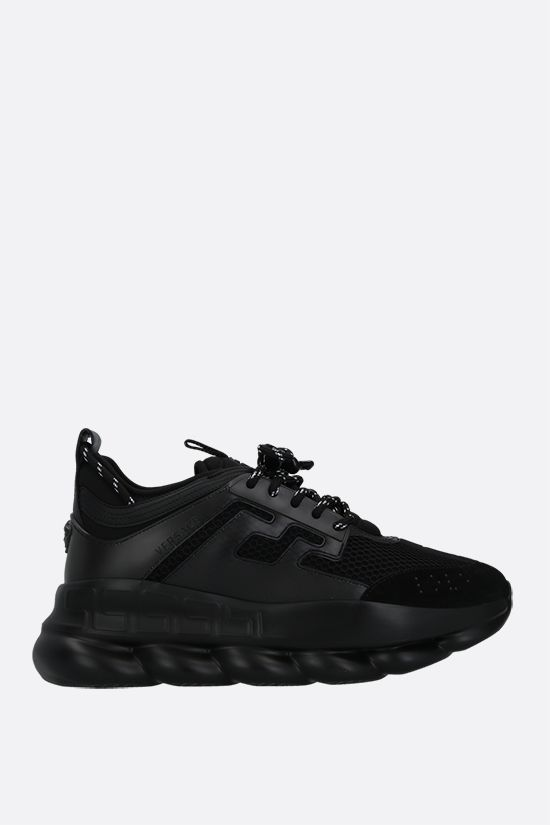 VERSACE: Chain Reaction mesh and smooth leather sneakers Color Black_1