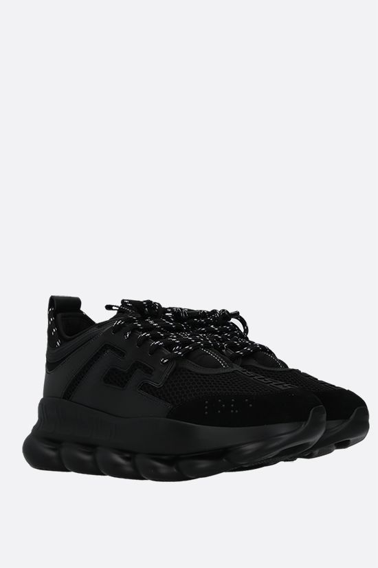 VERSACE: Chain Reaction mesh and smooth leather sneakers Color Black_2