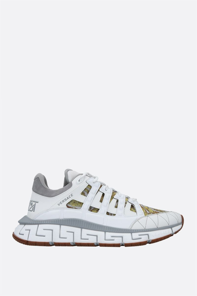 VERSACE: Trigreca sneakers in a mix of materials Color White_1