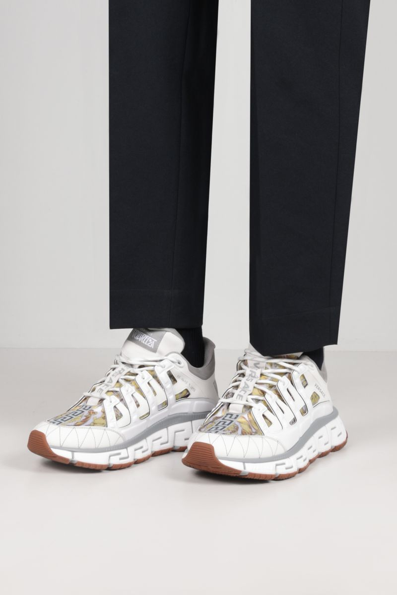 VERSACE: Trigreca sneakers in a mix of materials Color White_2