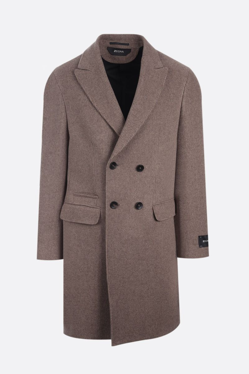 Z ZEGNA: double-breasted wool blend coat Color Brown_1