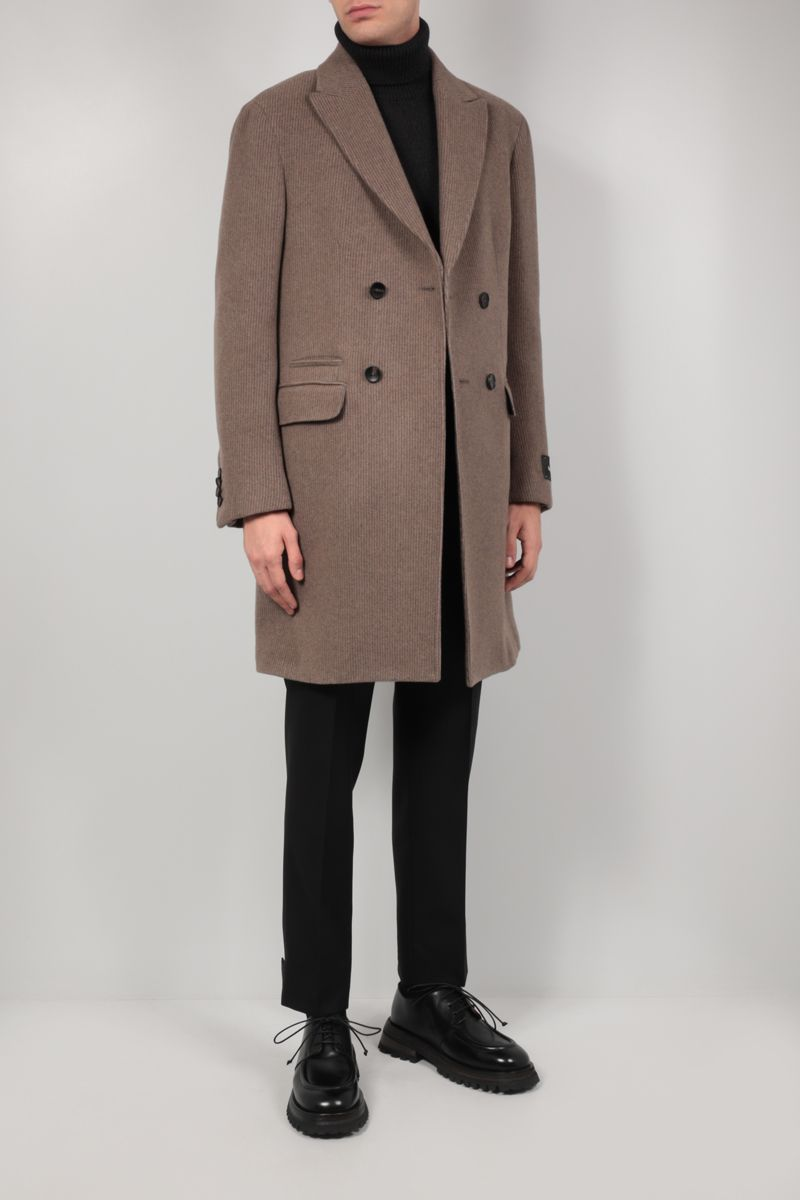 Z ZEGNA: double-breasted wool blend coat Color Brown_2