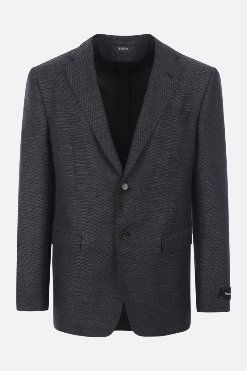 Z ZEGNA: single-breasted stretch wool jacket Color Grey_1
