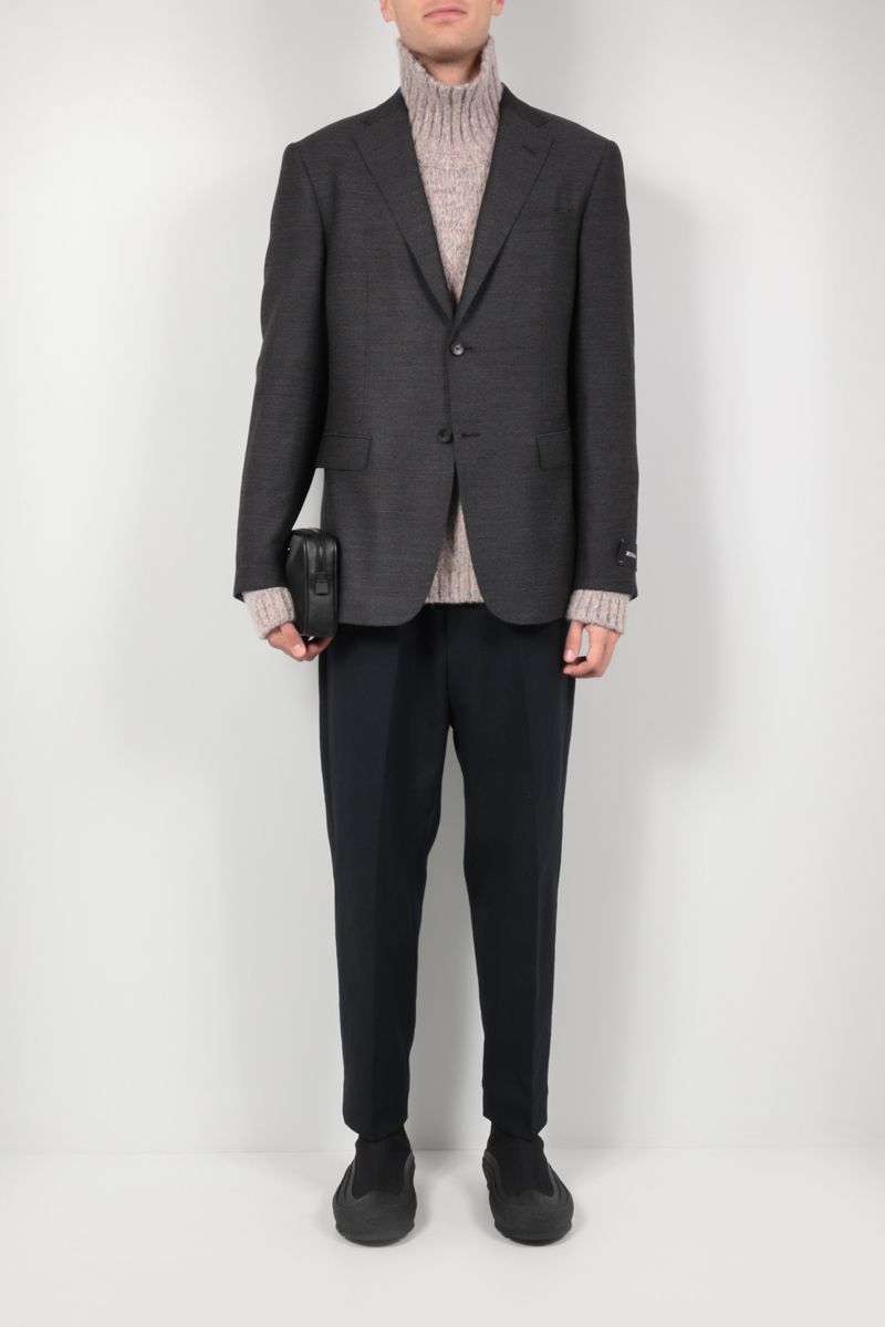 Z ZEGNA: single-breasted stretch wool jacket Color Grey_2