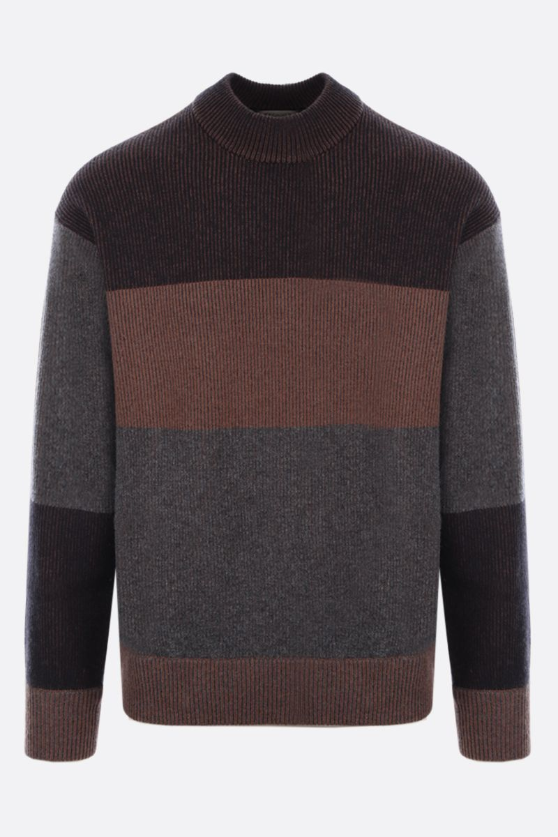 Z ZEGNA: striped cashmere wool blend pullover Color Brown_1