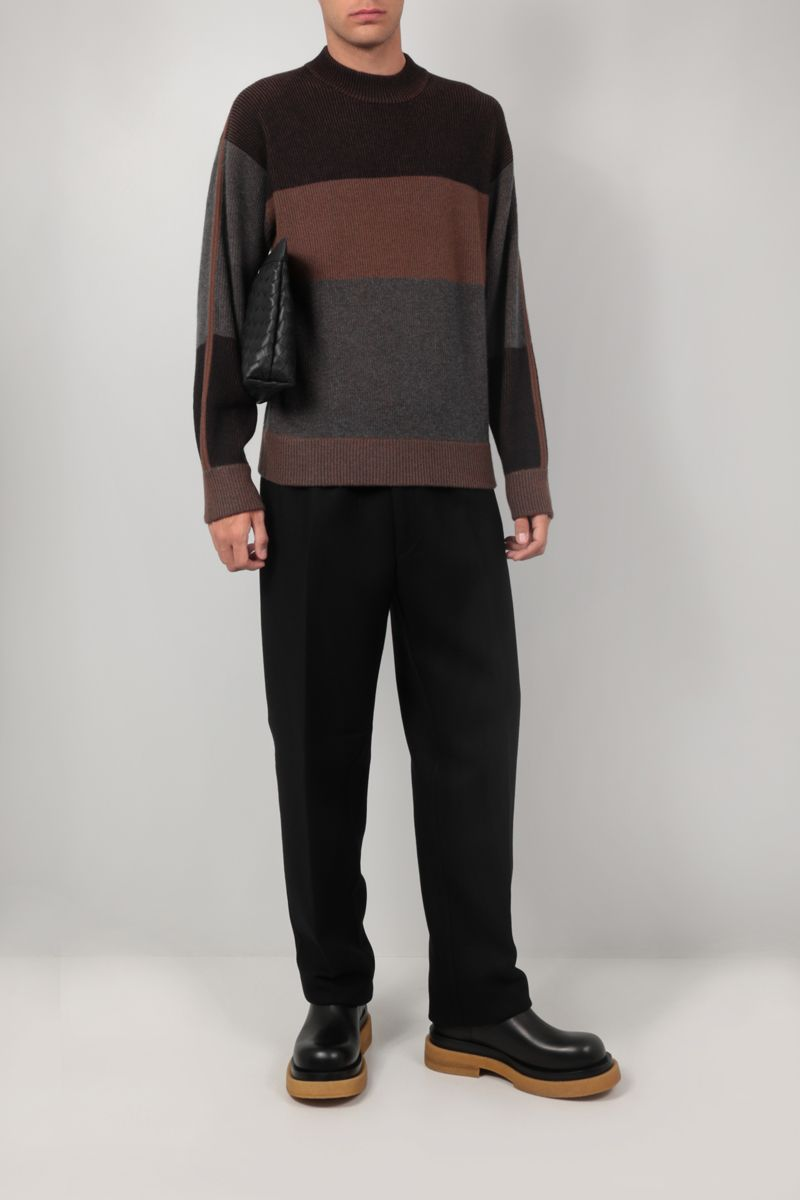 Z ZEGNA: striped cashmere wool blend pullover Color Brown_2