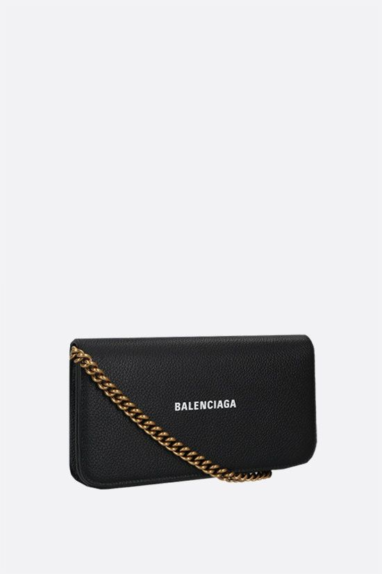 BALENCIAGA: Cash grainy leather smartphone holder Color Black_2
