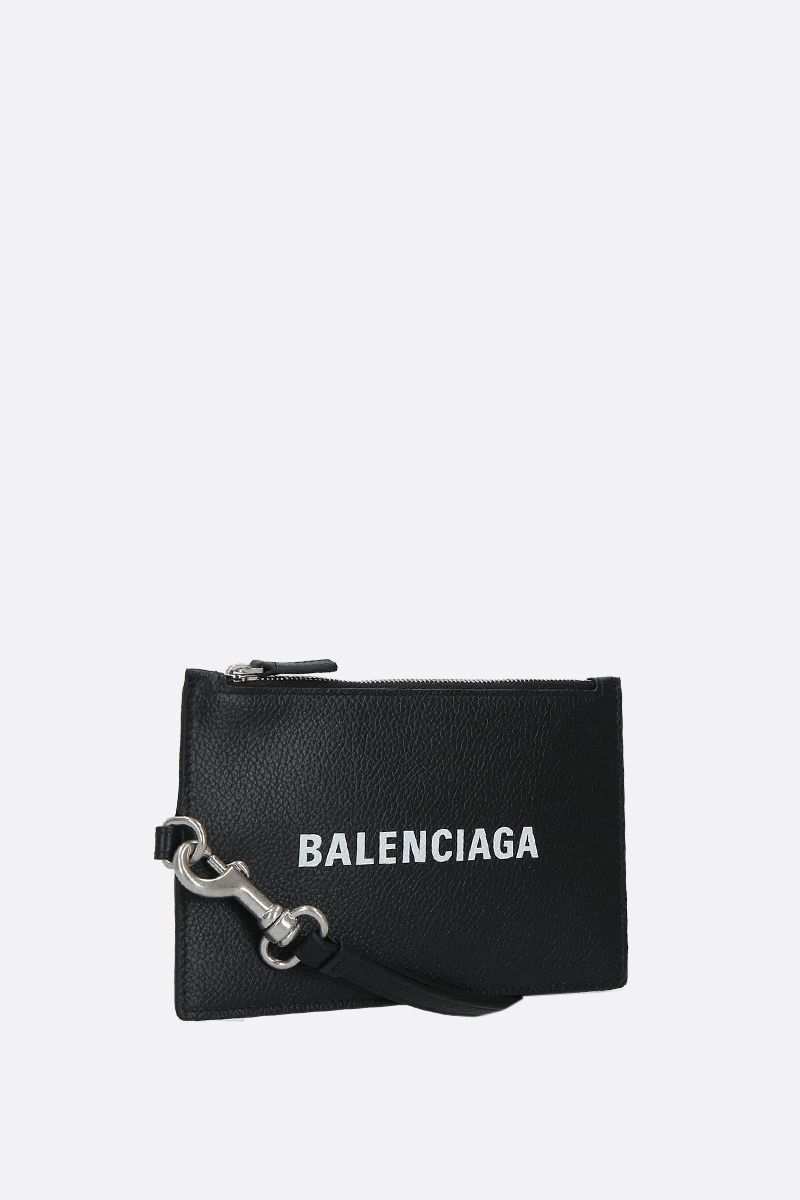 BALENCIAGA: grainy leather mini pouch Color Black_2