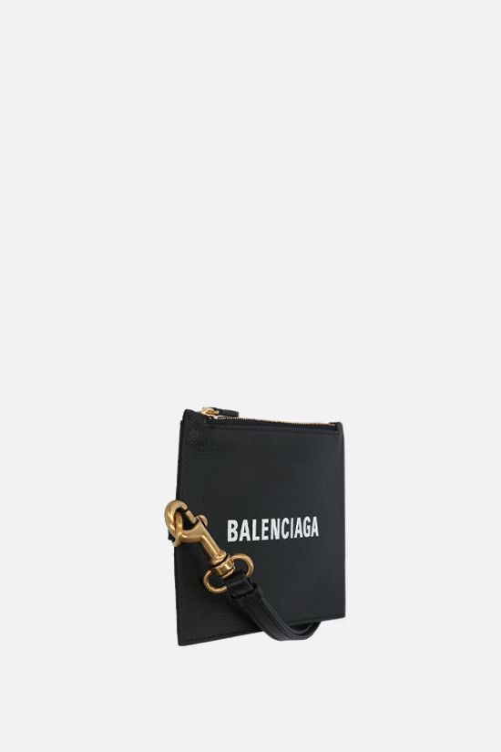 BALENCIAGA: Cash grainy leather mini pouch Color Black_2