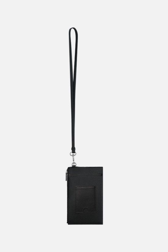 BALENCIAGA: Cash grainy leather pouch Color Black_2