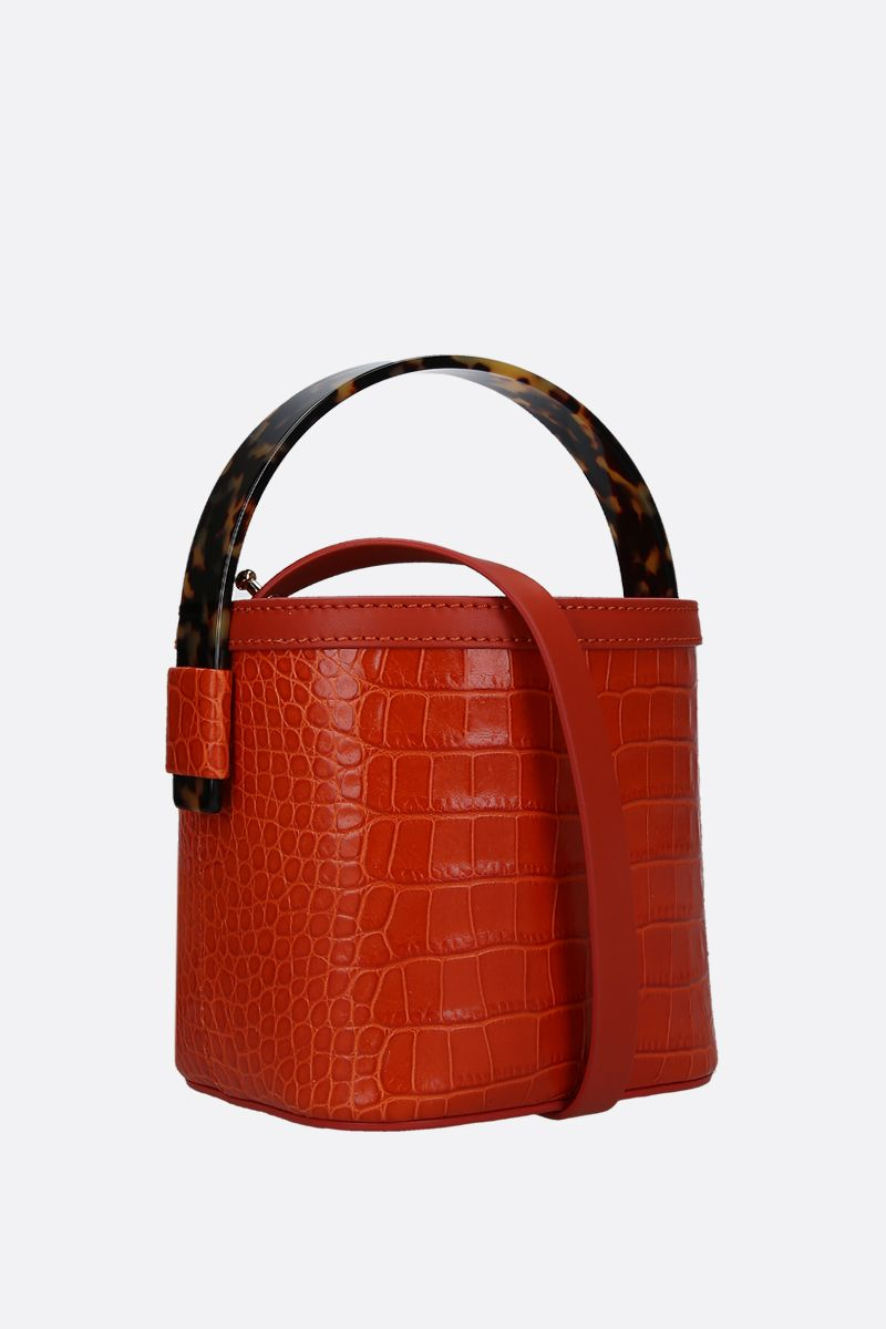 NICO GIANI: Adenia mini bucket bag in crocodile embossed leather Color Orange_2