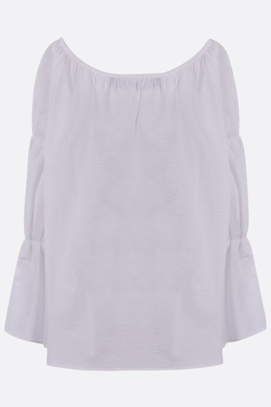 FEDERICA TOSI: textured poplin off-the-shoulder blouse Color White_2