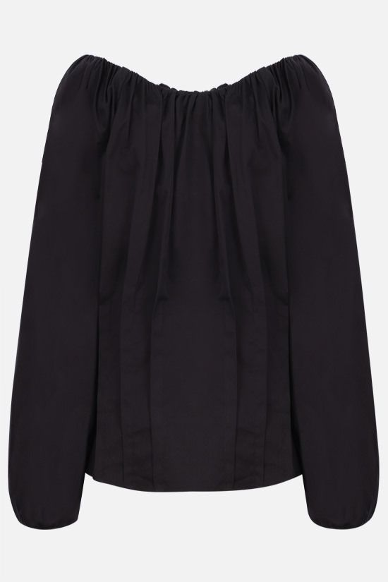 FEDERICA TOSI: gathered cotton blouse Color Black_2