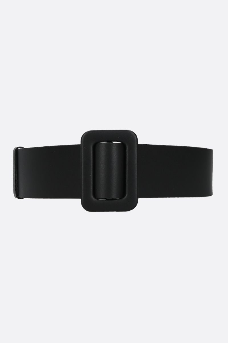 FEDERICA TOSI: smooth leather waist belt Color Black_1