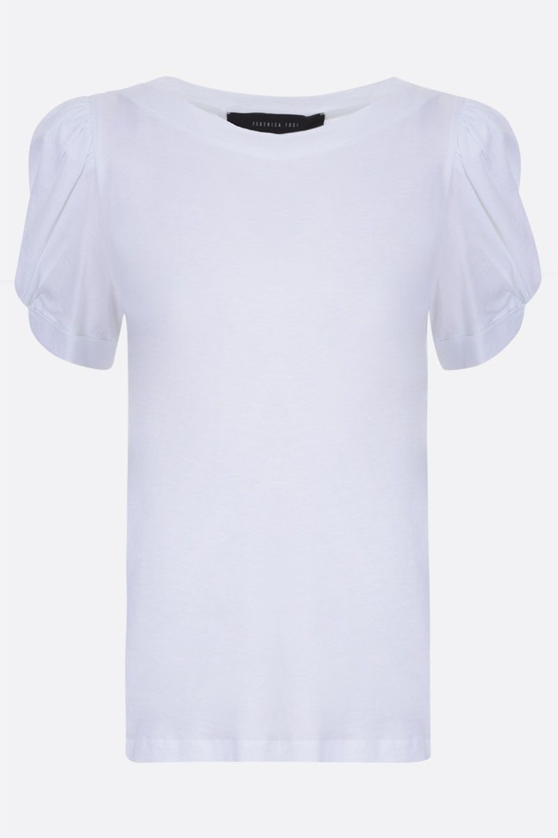FEDERICA TOSI: puff sleeved cotton t-shirt Color White_1