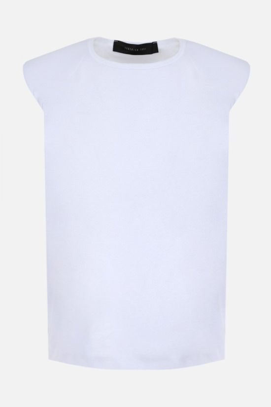 FEDERICA TOSI: shoulder pads sleeveless cotton t-shirt Color White_1