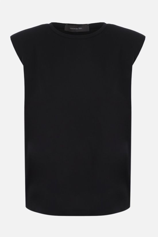 FEDERICA TOSI: shoulder pads sleeveless cotton t-shirt Color Black_1